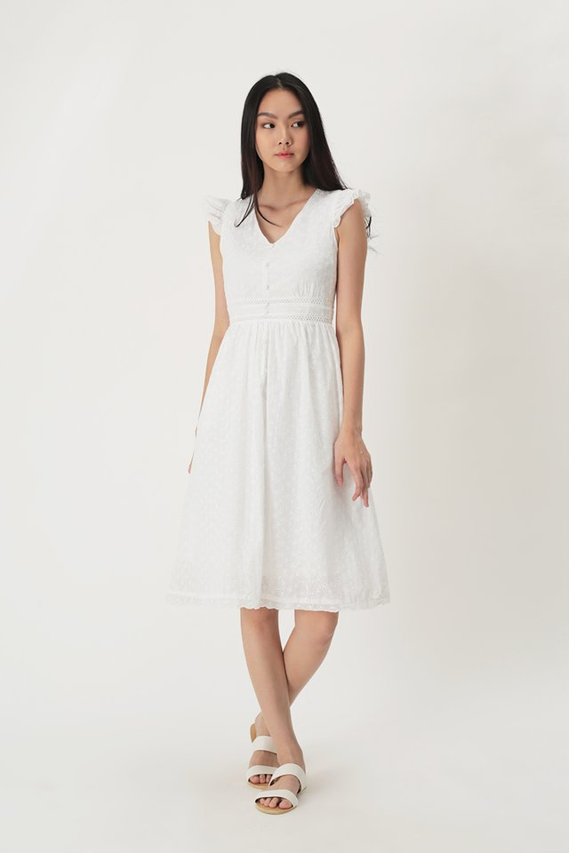 LORI EYELET DRESS IN WHITE
