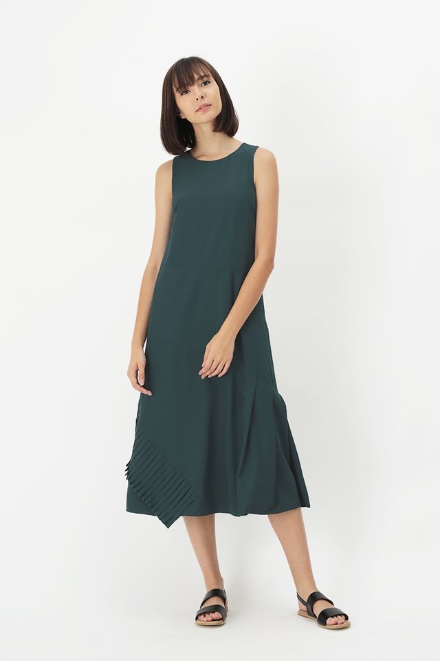 LOUISA PLEAT HEM DRESS IN FOREST
