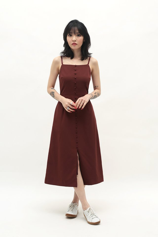 MAUREEN MIDI DRESS IN MERLOT