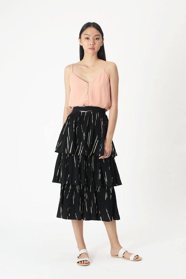 MERYL ABSTRACT TIER SKIRT IN BLACK