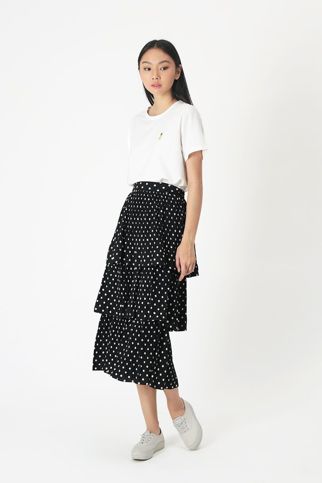 MERYL POLKADOT TIER SKIRT IN BLACK