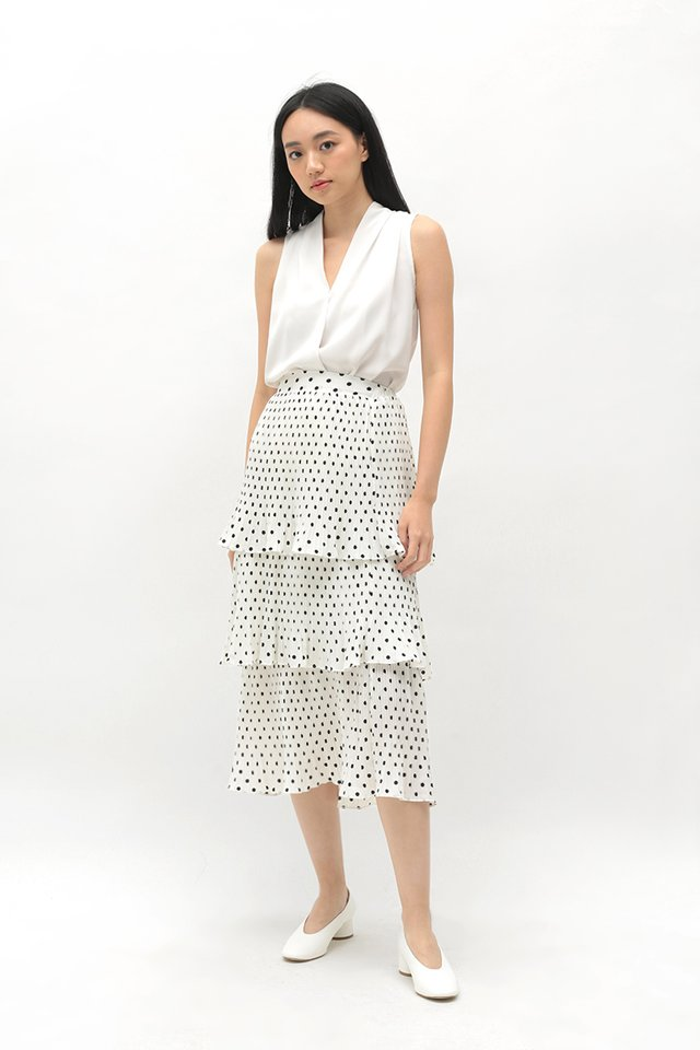 MERYL POLKADOT TIER SKIRT IN OFF-WHITE