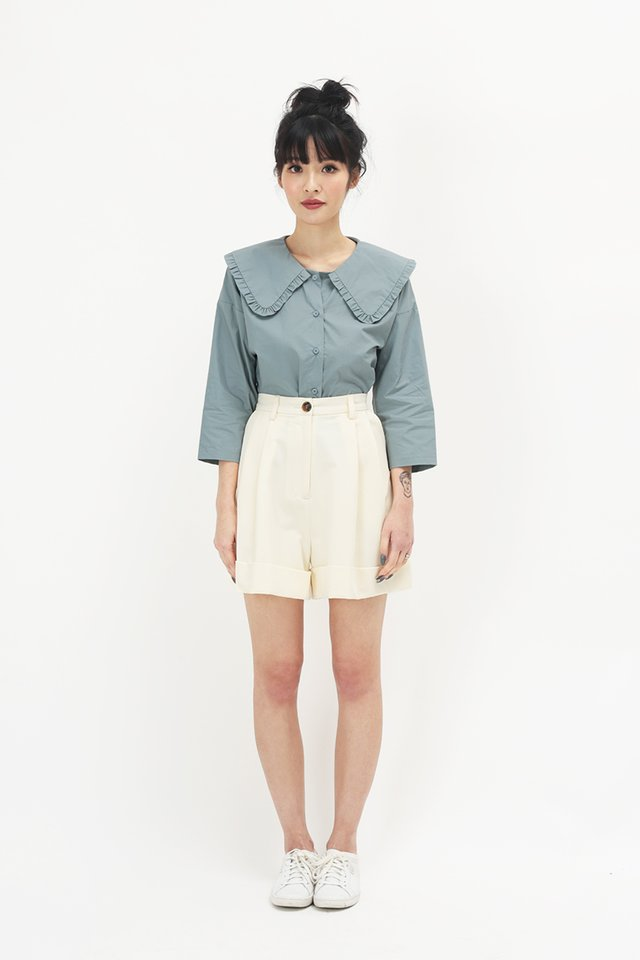 NOELLE FRILL COLLAR BLOUSE IN DUSK BLUE