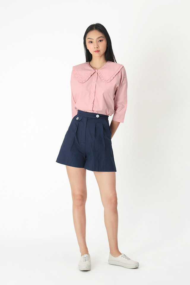 NOELLE FRILL COLLAR BLOUSE IN FRENCH PINK