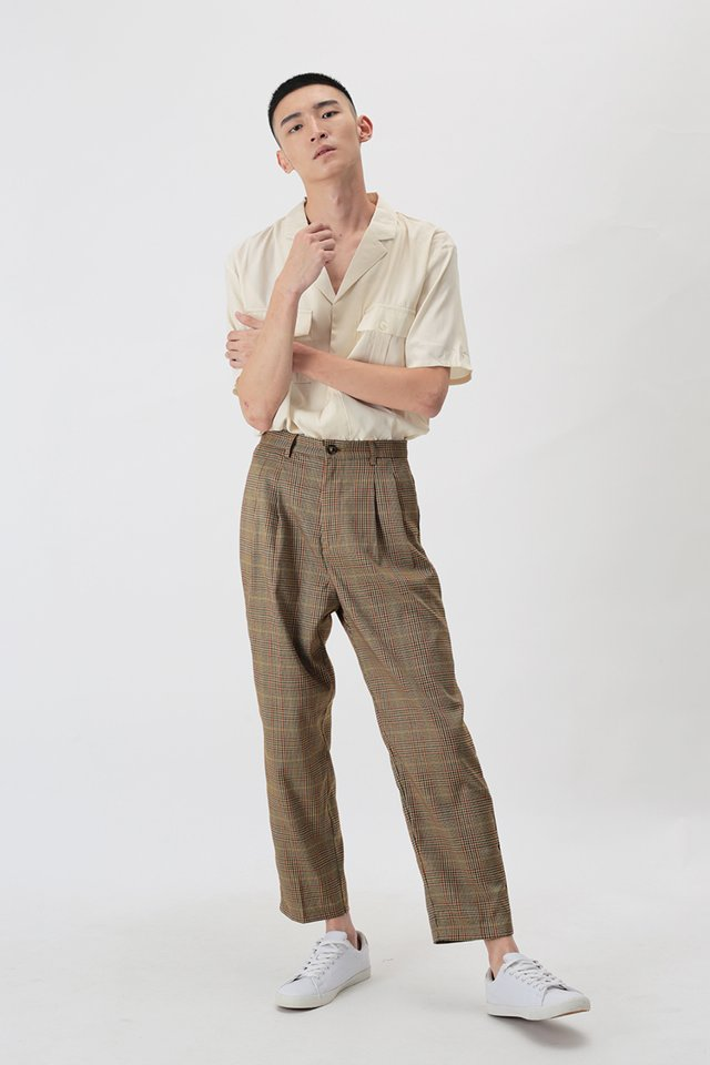PORTER DOUBLE PLEATED PLAID TROUSERS IN COCOA
