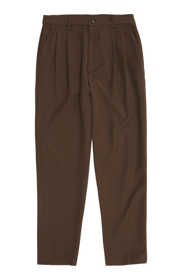 PORTER DOUBLE PLEATED TROUSERS IN CHOCOLATE