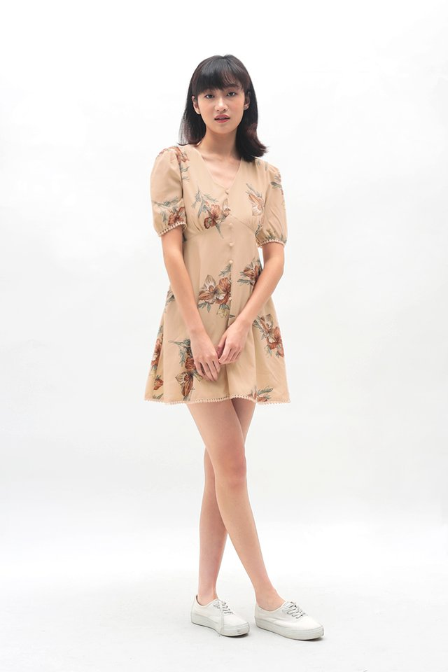 SUE-ANNE FLORAL SWING DRESS IN BLUSH