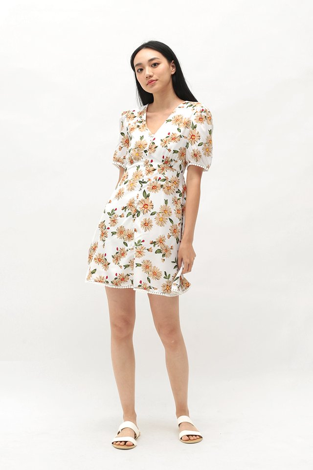 SUE-ANNE FLORAL SWING DRESS IN WHITE