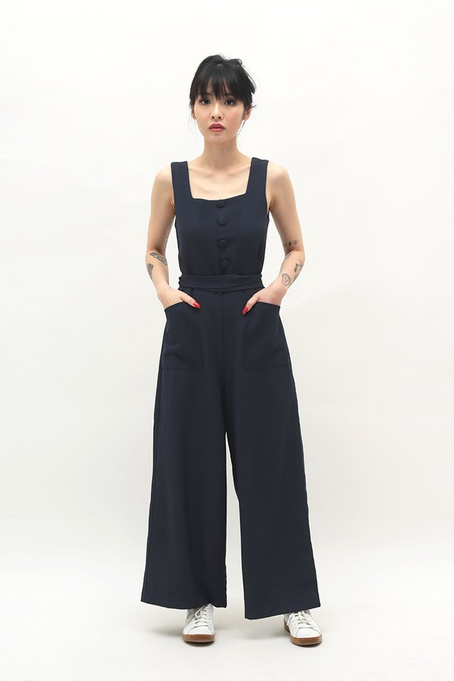 SURI BUTTON JUMPSUIT IN DARK NAVY