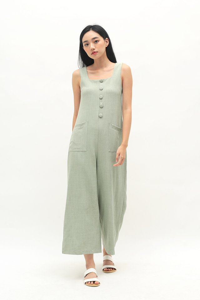 SURI BUTTON JUMPSUIT IN PISTACHIO