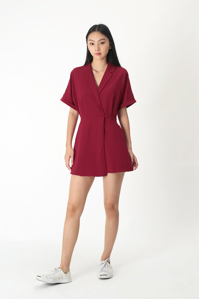 VIOLETTE CAMP COLLAR ROMPER DRESS IN DEEP RED