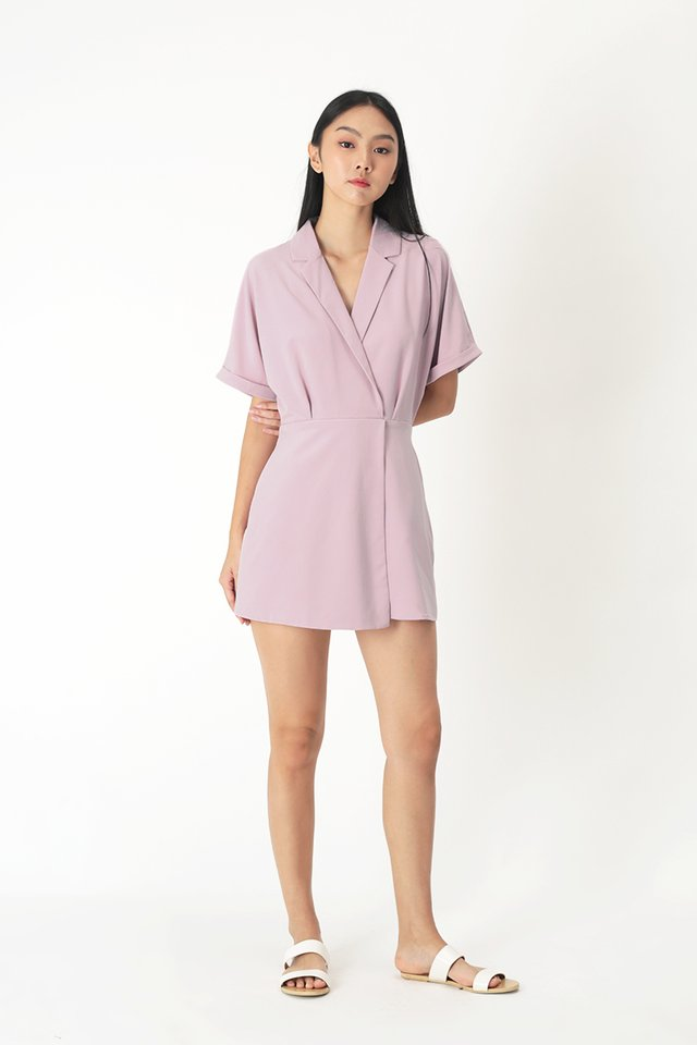 VIOLETTE CAMP COLLAR ROMPER DRESS IN FRENCH PINK