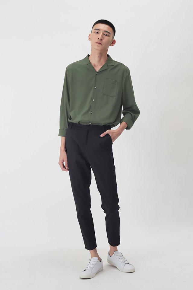 WESLEY LONG SLEEVE CAMP COLLAR SHIRT IN OLIVE