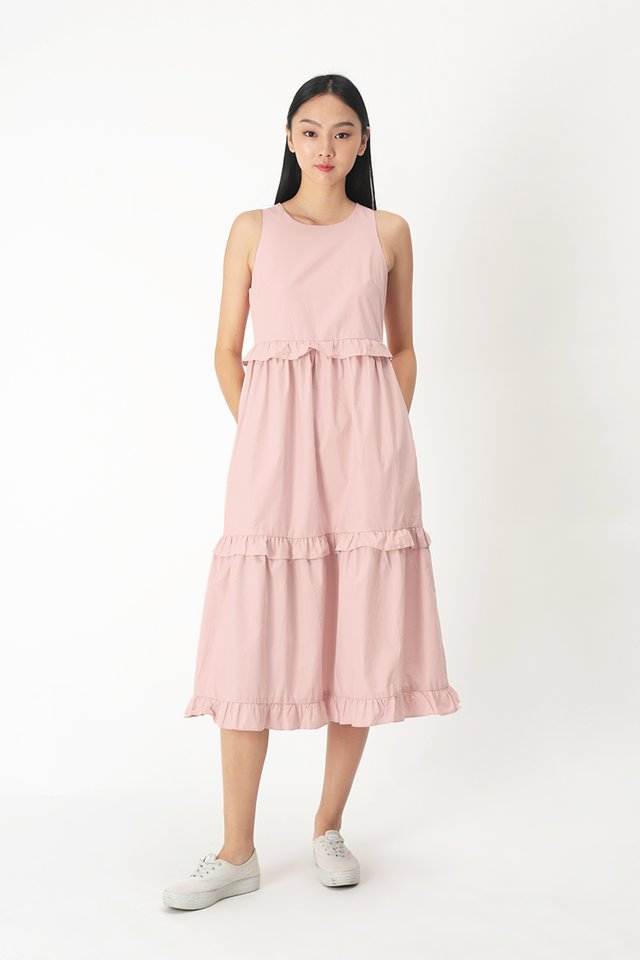 CHLOE FRILL MIDI DRESS IN FRENCH PINK