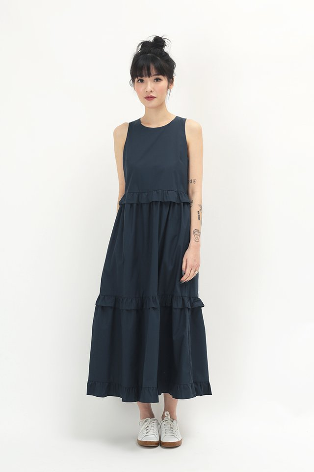CHLOE FRILL MIDI DRESS IN NAVY