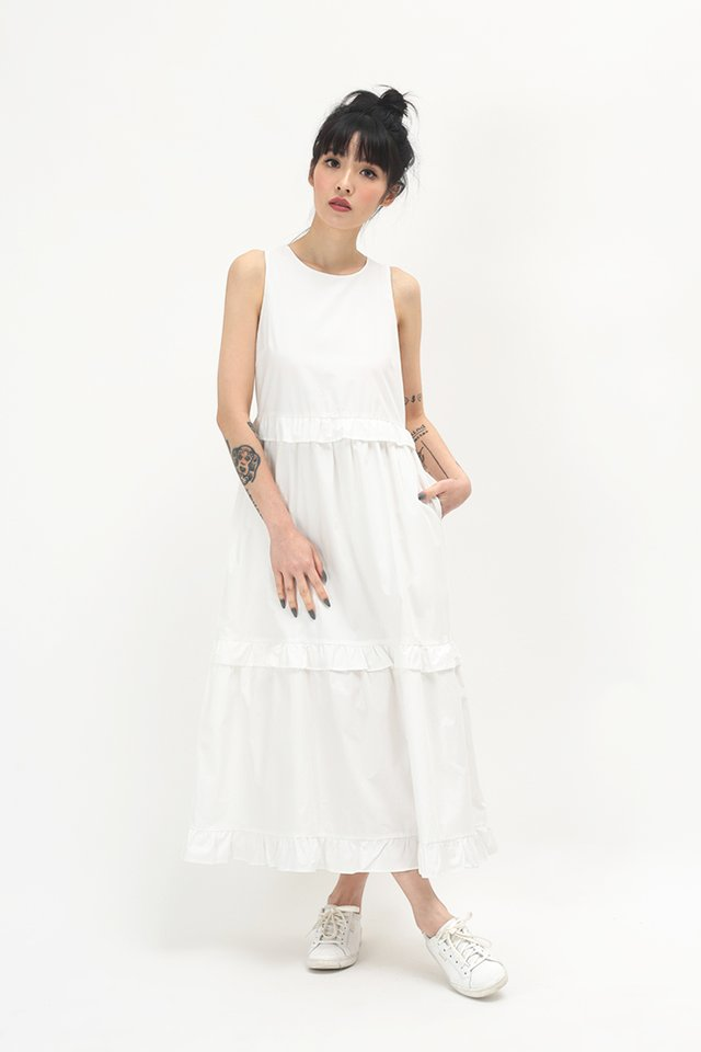 CHLOE FRILL MIDI DRESS IN WHITE