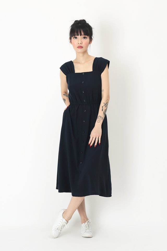 DANICA BUTTON DRESS IN NAVY