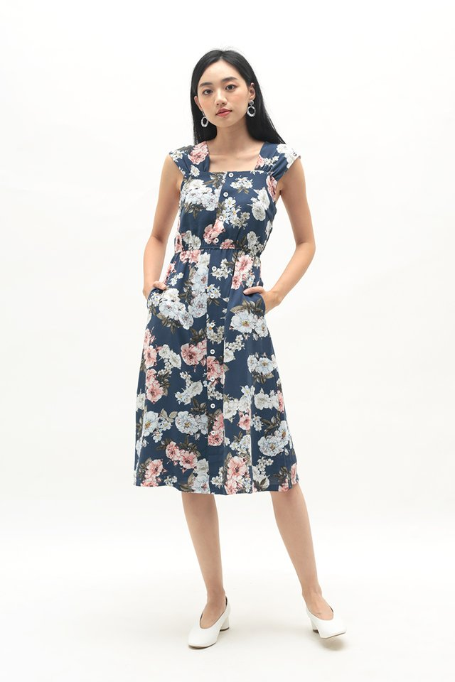 DANICA FLORAL BUTTON DRESS IN IRIS BLUE