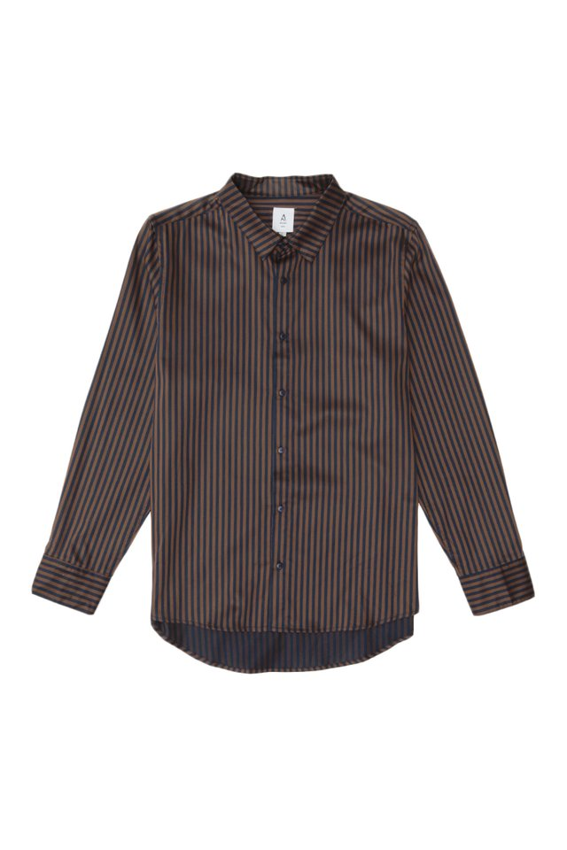DORIAN LONG SLEEVE AWNING STRIPE SHIRT IN NAVY