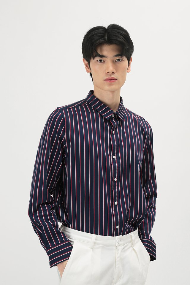 DORIAN LONG SLEEVE SHADOW STRIPE SHIRT IN RED STRIPES
