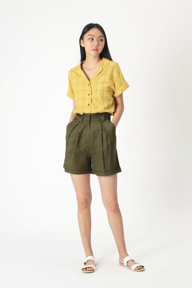 ELYSSA CHECKERED CAMP COLLAR BLOUSE IN SUNSHINE