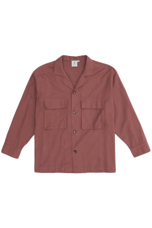 EZRA CAMP COLLAR POCKET OVERSHIRT IN BRICK