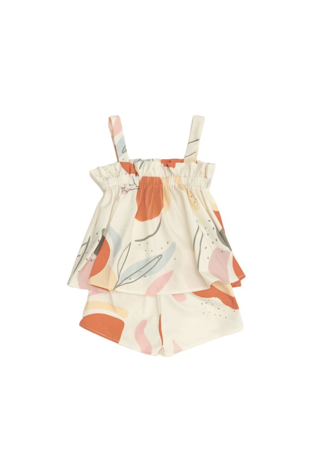 ELORA ABSTRACT TWO PIECE SET IN CREAM