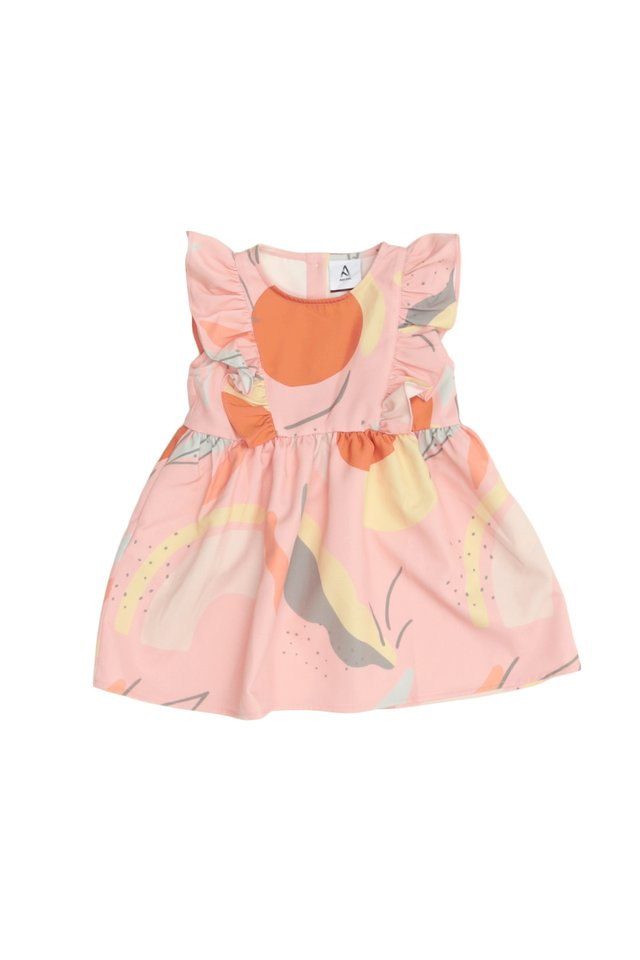NAOMI ABSTRACT FRILL DRESS IN PINK