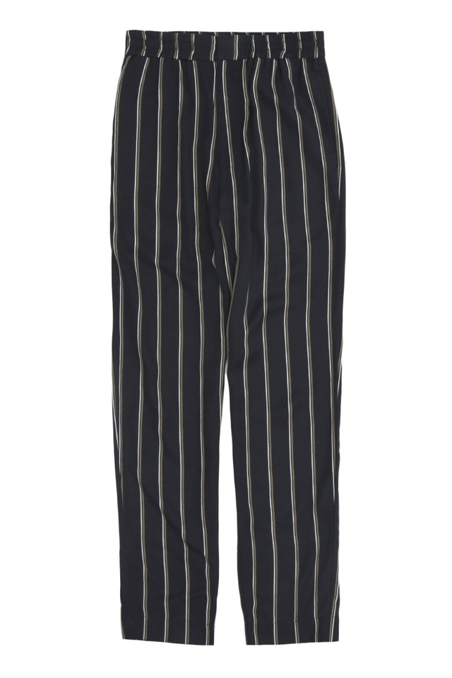 GRAYSON SLIM-FIT ELASTIC WAIST STRIPED TROUSERS IN NAVY