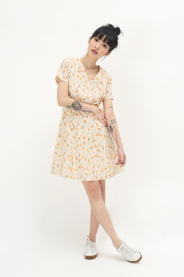 KIT PINEAPPLE SWING DRESS IN CREAM