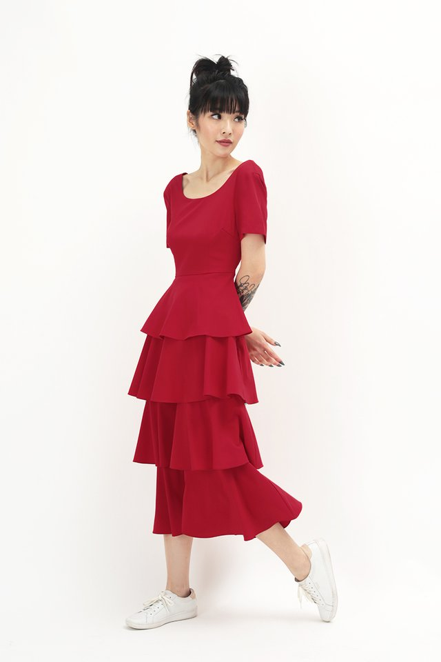 LAURETTE TIER DRESS IN AURORA RED