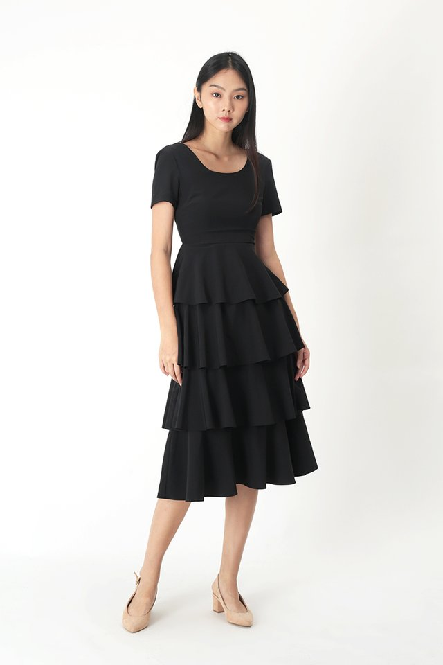 LAURETTE TIER DRESS IN BLACK