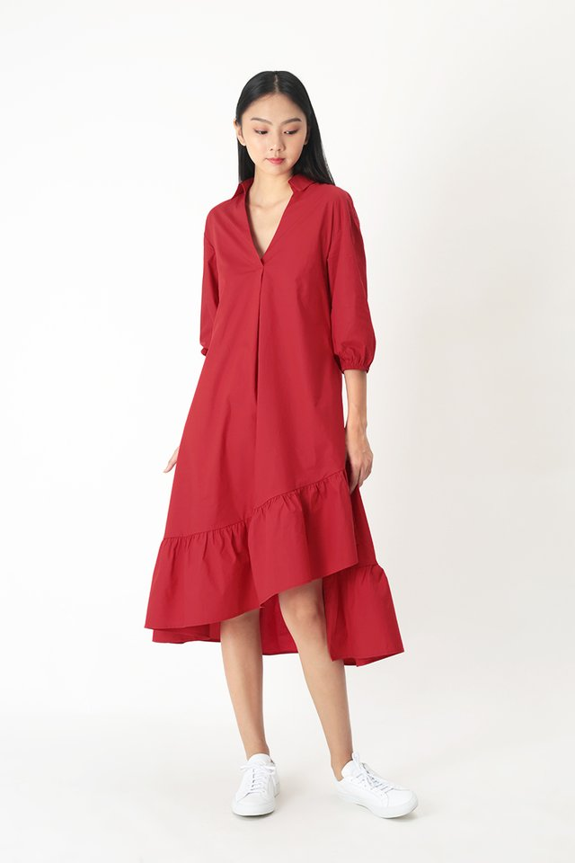 MARLEY ASYMMETRICAL MIDI DRESS IN AURORA RED