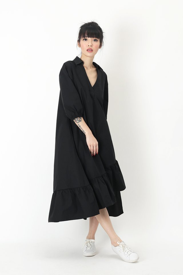 MARLEY ASYMMETRICAL MIDI DRESS IN BLACK