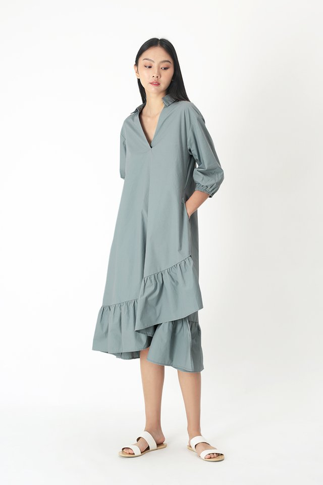 MARLEY ASYMMETRICAL MIDI DRESS IN DUSK BLUE