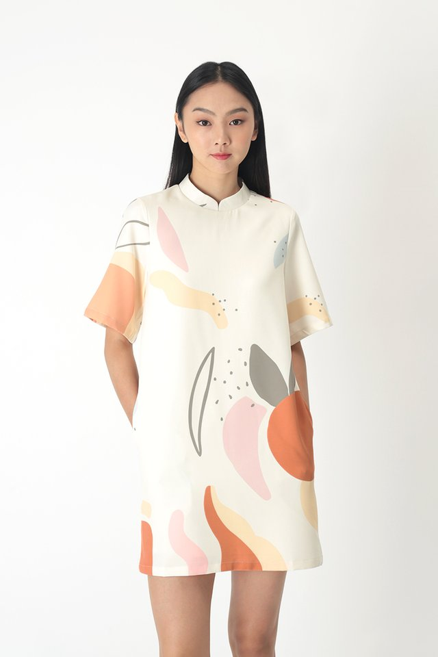 MARSHA ABSTRACT CHEONGSAM DRESS IN CREAM