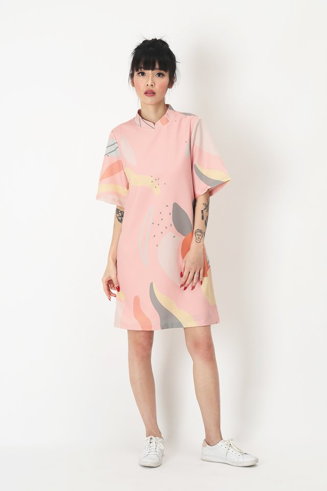 MARSHA ABSTRACT CHEONGSAM DRESS IN PINK