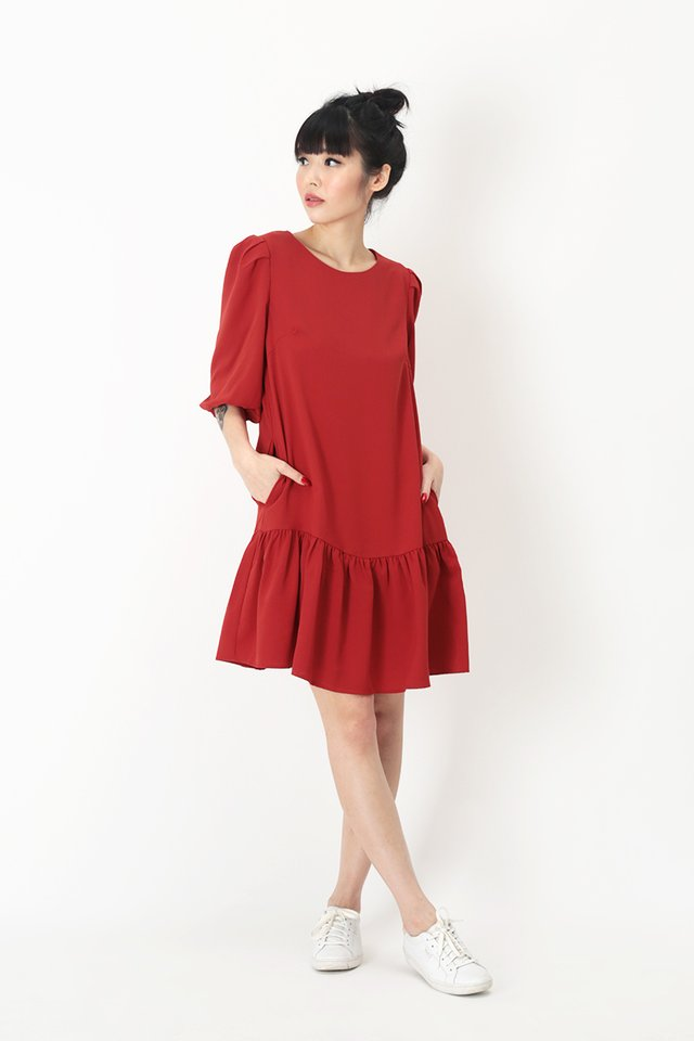 REBECCA DROP HEM DRESS IN AURORA RED