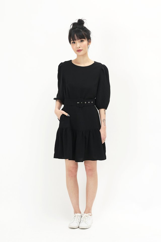 REBECCA DROP HEM DRESS IN BLACK
