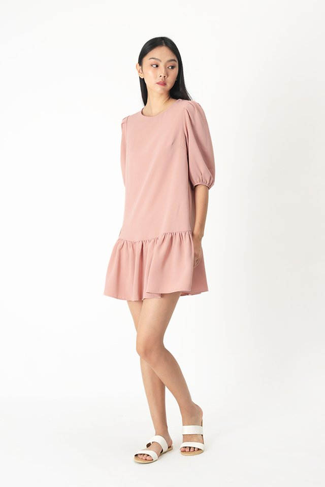 REBECCA DROP HEM DRESS IN FRENCH PINK