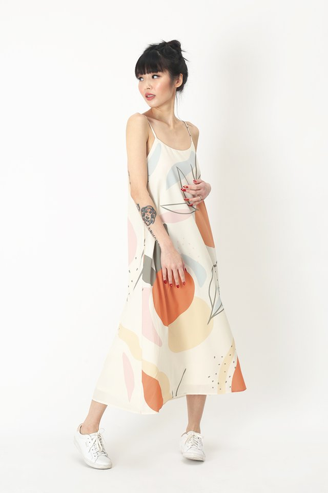 RUMI ABSTRACT MIDI DRESS IN CREAM