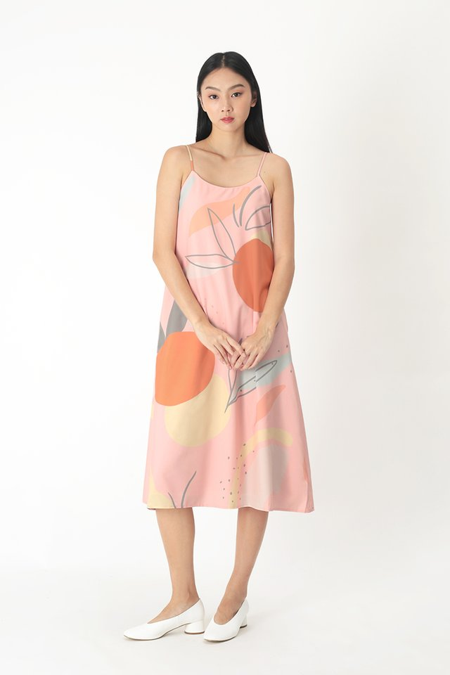 RUMI ABSTRACT MIDI DRESS IN PINK