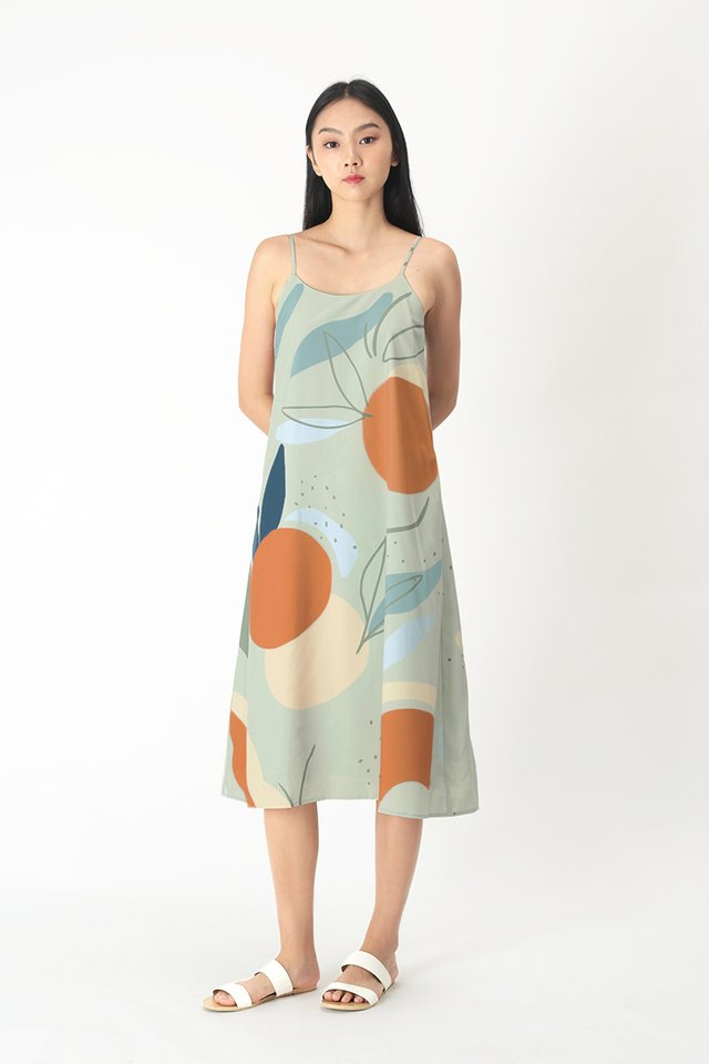 RUMI ABSTRACT MIDI DRESS IN SAGE