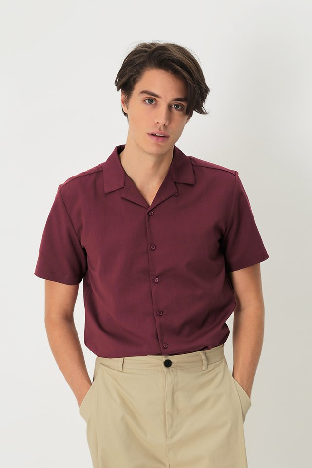 THEO SLIM-FIT CAMP COLLAR SHIRT IN MAROON