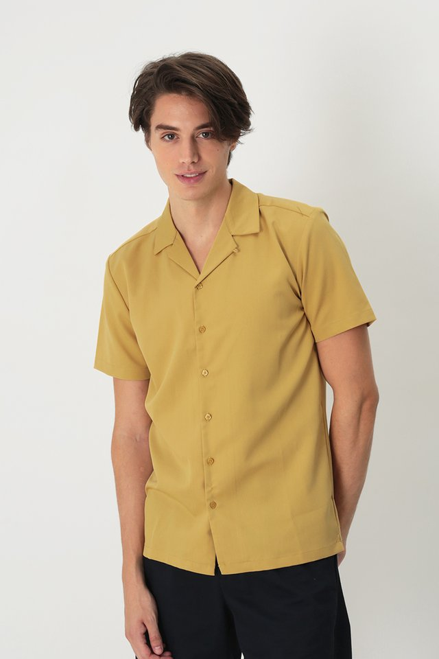 THEO SLIM-FIT CAMP COLLAR SHIRT IN YELLOW