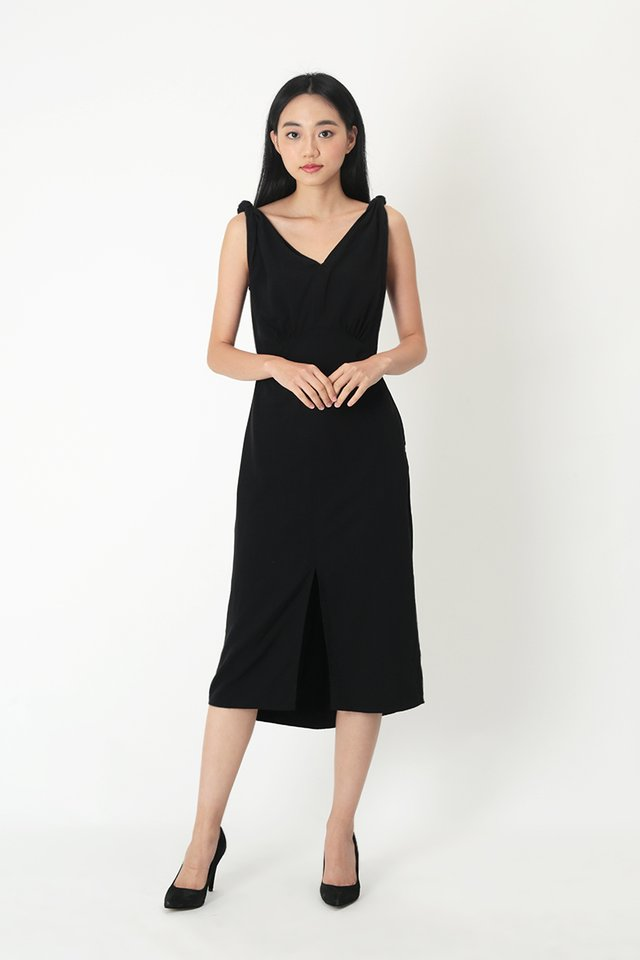 WHITNEY MIDI DRESS IN BLACK
