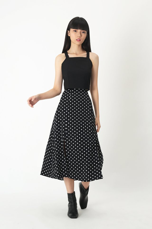 AMY POLKADOT MIDI SKIRT IN BLACK