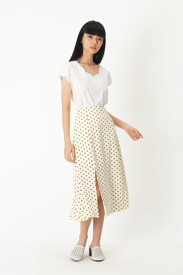 AMY POLKADOT MIDI SKIRT IN CREAM