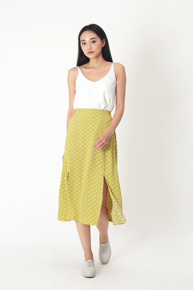 AMY POLKADOT MIDI SKIRT IN DAFFODIL