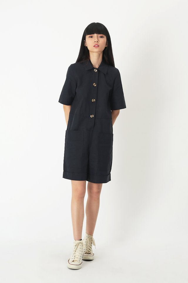 BROOKLYN UTILITY ROMPER IN DARK NAVY